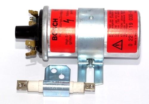 Bosch Zündspule 12 Volt (rot) mit Vorwiderstand