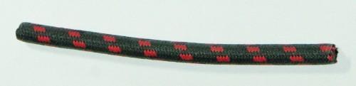 Textilumflochtene Zündleitung 7mm schwarz-rot