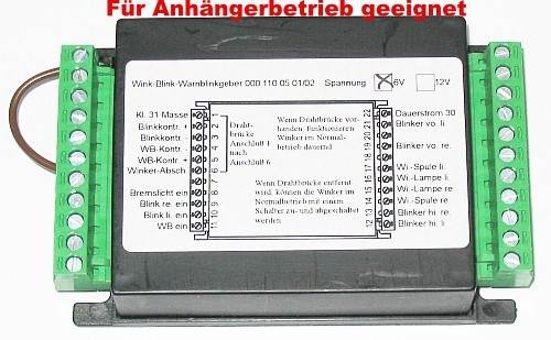 KM Blink-Warnblinkanlage 6 Volt für Anhängerbetrieb